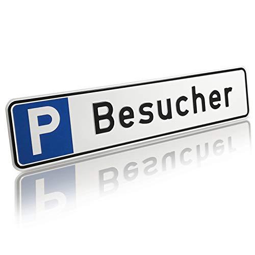 Betriebsausstattung24 Geprägtes Parkplatzschild aus Aluminium in Nummernschildform | Besucher | KFZ-Kennzeichen | für Ihren Parkplatz & Stellplatz | Originalmaße 52,0 x 11,0 cm