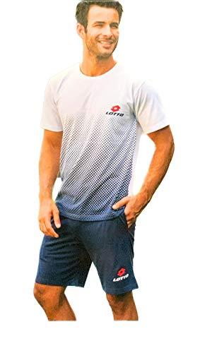 Completo Uomo T-Shirt E Pantaloncino Homewear Pigiama Uomo Corto Estivo (Bianco Punt. LP5055, L)