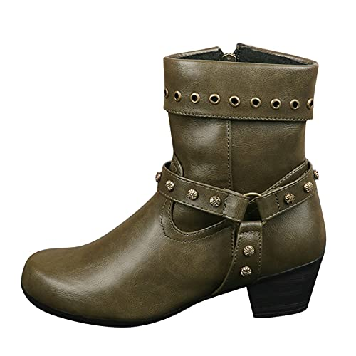 ZiSUGP Water Boots For Women White Cowgirl Boots For Women Black Combat Boots Farm Boots For Women(Army Green,Size8.5)