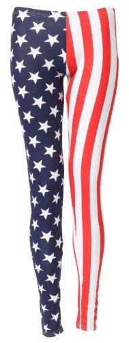 Fast Fashion Damen USA American Flag Stars Und Stripes Gamaschen (EUR 40/42 - UK (12-14), Navy/Red)