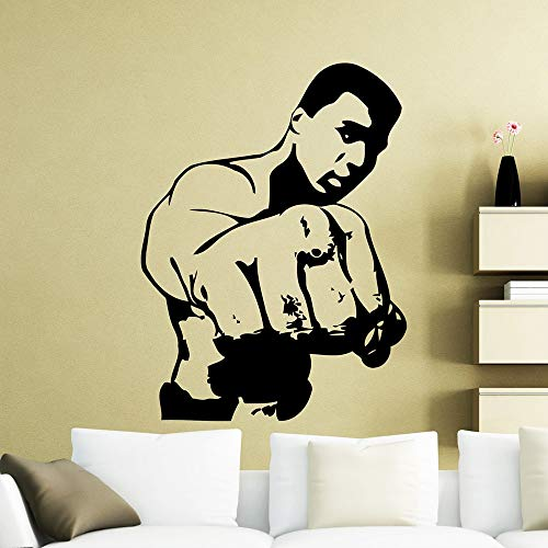 HNXCWR123 Boxer Ali Wall Sticker Cassius Clay Boxer Boxing Sports Wall Decal Vinyl Home Boys Bedroom Decoration Waterproof Mural 77X57CM Black 22