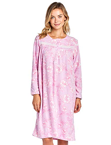 Casual Nights Women's Long Sleeve Printed Micro Fleece Nightgown - Pink - X-Large