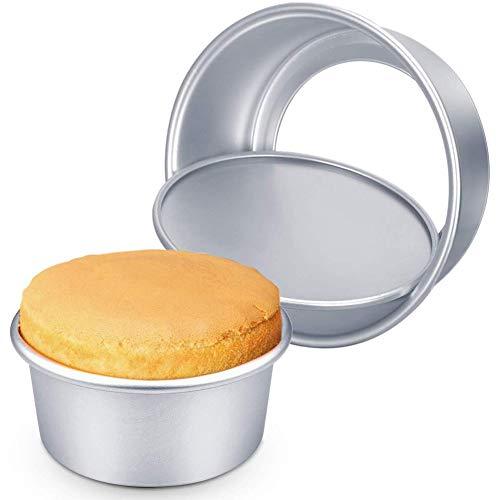 2 Pack Backformen Set für Runde Schichtkuchen, Aluminum Kuchen-Form Abnehmbare Bottom Round Cake Moulds Antihaft-Backformen Pfanne,6 Zoll und 8 Zoll