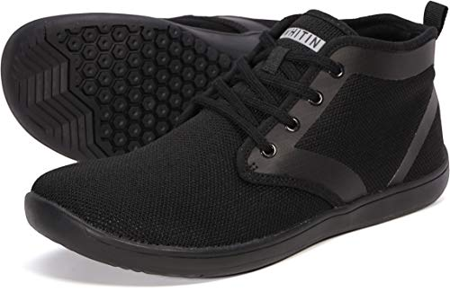 WHITIN Men's Knit Barefoot High Top Minimalist Tennis Sneakers Wide fit Zero Drop Sole Size 12 Minimus Casual Shoes Winter Fashion Boots Walking Flat Lightweight Skateboarding for Male Black 45
