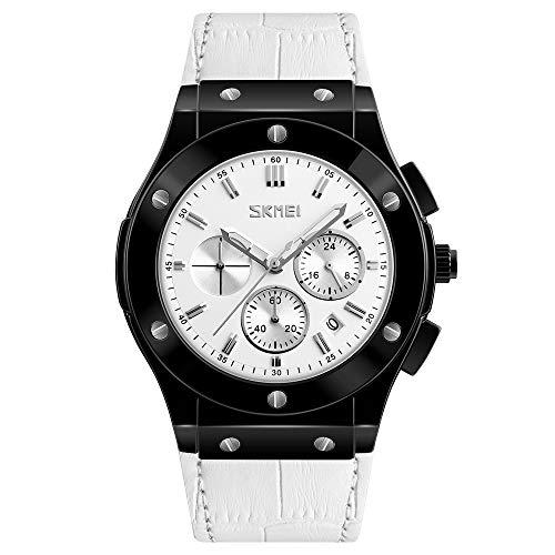 nbws Hombre Classic Sports Agua Densidad Simulación Reloj de Cuarzo Agua Densidad Trend Seis de Aguja de cinturón de Reloj, Color Blanco