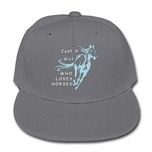 Just A Girl Who Loves Horses Kinder Animal Farm Quick Buckle Hat Baseball Cap Hip Hop Cap Einheitsgröße grau