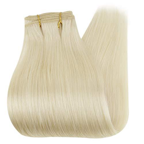Echthaar Tressen Blond 100g 1 Stück 40cm 16 Zoll Farbe 60 Gebleichtes Blond Human Hair Bundles Haarverlängerung Weaving