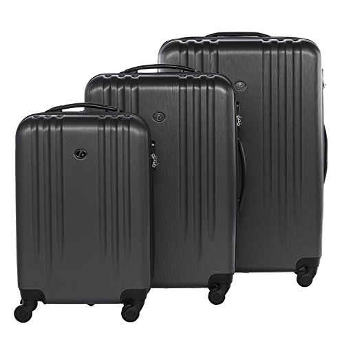 FERGÉ® Set di 3 valigie viaggio MARSIGLIA - leggero bagaglio rigido dure da 3 morbido tre pz. valigie con 4 ruote (multidirezionali 360°) grigio