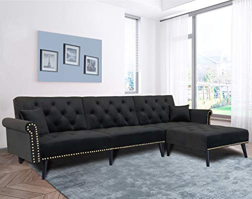 Futon Bed Couch, Velvet Upholstered Mid Century Sofa Sleeper for Living Room, Sectional Sofa Set Including Metal Legs and Cozy Upholstery Sofa Bed (Black)