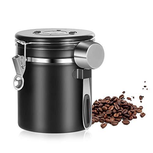 YanFeng Aromadose Vorratsdose, Kaffeedose kaffeebohnen behälter vorratsdosen aus Edelstahl mit kostenlosem Edelstahl Löffel für 1,5 Liter Kaffeebohnen, Tee, Kakao, Haferflocken usw