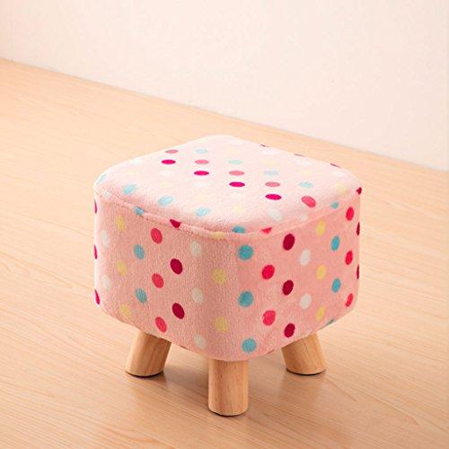 Tabouret rembourré en Bois Massif carré pour Chambre à Coucher, Tabouret pour Enfant de 4 Pieds, Housse en Flanelle Amovible, 5 Couleurs. (L28cm * L28cm * H28.5cm) (Color : Pink with Colorfull Dots)
