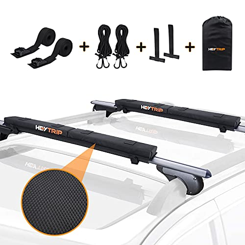"""Heytrip Roof Rack Pads 30"""" Aero Crossbar Pads for Kayak/Surfboard/SUP/Canoe with 15FT Tie-Down Straps and Storage Bag"""