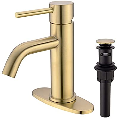 TRUSTMI Brass Single Lever Single Hole Bathroom Basin Sink Faucet with Pop Up Drain Assembly and 6-Inch Hole Cover Deck Plate,Brushed Gold