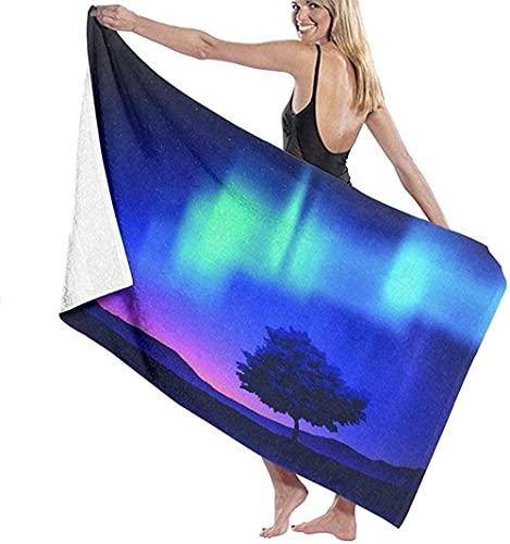 Telo Mare Grande 130 ×80cm, L'aurora boreale,Asciugamano da Spiaggia in Microfibra Asciugatura Rapida,Ultra Morbido,Uomo,Donna,Bambina