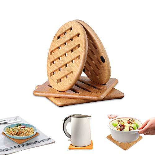 Sottopentola in Legno di Bambu, Set da 4 pezzi Resistenti al Calore Sottopentola in Bambu Adatti per la Superficie della Cucina, Quadrato e tondo, Antiscivolo, Lavabile in Lavastoviglie