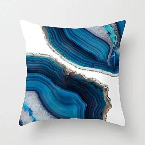 PPMP Funda de Almohada de Tiro Azul, Funda de cojín de Flor geométrica de mármol de ágata para el hogar, decoración de sofá, Funda de Almohada, Funda de cojín A1 45x45cm 1pc
