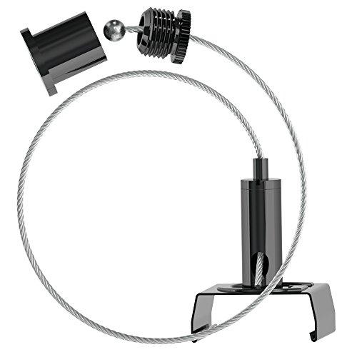 Abhängeset für Global-Stromschienen;schwarz beschichtet; bestehend aus Deckenbefestiger mit Kappe, schwarz, Drahtseil Ø1,5mm, Länge=5000mm, Drahtseilhalter mit Stromschienenklammer, schwarz