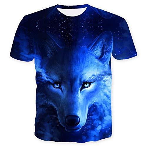 ISAAC ENGLAND Wo Licht und Dunkelheit Sich treffen T-Shirt des Wolfs 3D Top T-Shirt Kurzarm-Rundhals-T-Shirt Mode-T-Shirt 4 Color-XXXL, Blau
