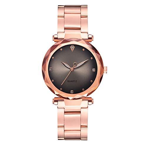 GJHBFUK Reloj Mujer Moda Rose Gold Correa Reloj De Cuarzo Gradiente Dial Dial Rhinestone Reloj De Damas (Gris)