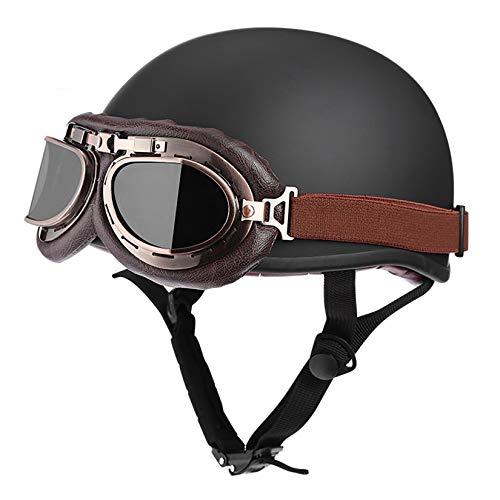 ZHAORU Casco de Scooter con Visera Gafas UV Scooter Universal de Motocicleta Cuero sintético Medio Casco de Cara Abierta, Certificación Dot