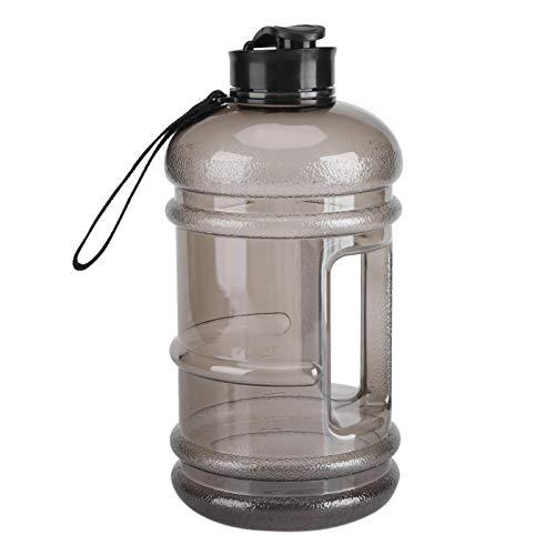 Kuuleyn Botella de Agua, Grado alimenticio PETG Material Práctico portátil Deportes Copa Firme No venenoso Simple Ligero Elegante Gimnasio para Acampar Gran Capacidad al Aire Libre con Tapa de(Black)
