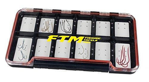 FTM Hookbox 18,8x10,3x1,7cm - Hakenbox für Angelhaken, Angelbox für Forellenhaken, Tacklebox für Haken & Spoons, Zubehörbox
