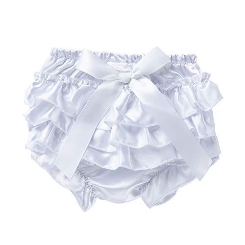 Baby Infant Girl Bowknot Ruffle Bloomer Underwear Panty (6M, White)