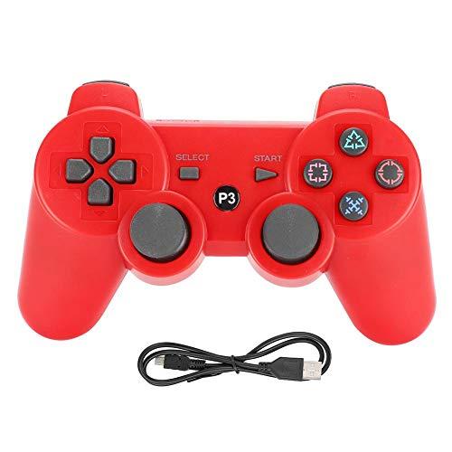 Manette de Jeu Bluetooth sans Fil, Manette de Jeu Fonctionnelle Intelligente de stabilisation du Signal avec capteur d'accélération tridimensionnelle pour PS3(Rouge)