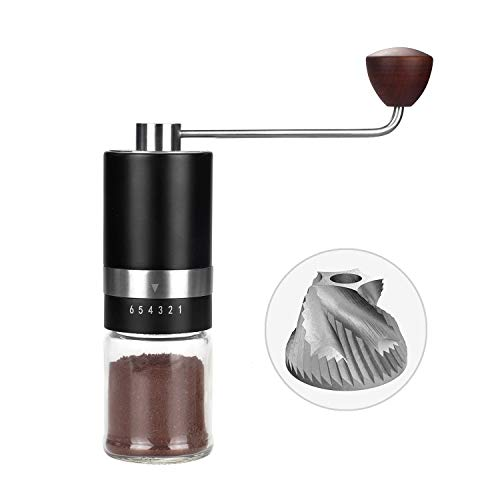 Manual Burr Coffee Grinder Vkchef (CNC Stainless Steel Burr) Grinder 6 Adjustable Setting Portable Hand Crank Coffee Bean Mill for Espresso,French Press,Aeropress Coffee for Hand Grinder Father's Day Gift