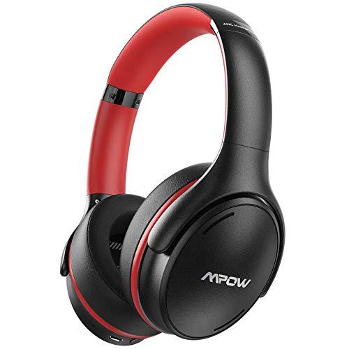Fones de ouvido Mpow H19 IPO com cancelamento de ruído ativo, fones de ouvido Bluetooth 5.0 com graves profundos, carregamento rápido, tempo de reprodução de 35H, fone de ouvido leve, microfone CVC 8.0 para home office, estudo on-line, viagens