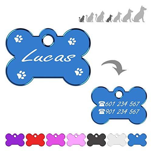 Hueso para Mascotas Muy pequeñas Grabado con Patas Placa Chapa Medalla de identificación Personalizada para Collar Perro Gato Mascota grabada (Azul)