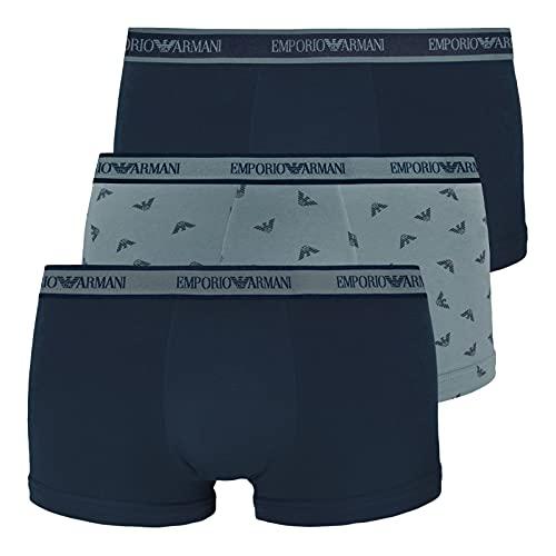 Emporio Armani Underwear Mens Core Logoband Trunks, Marin/Pr.Cadet/Marin, L (3er Pack)
