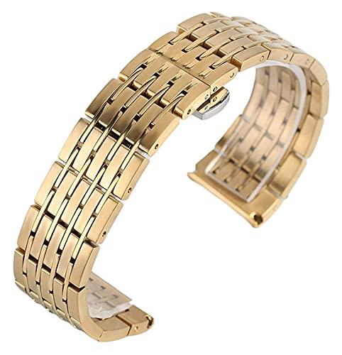FETTR Correa de reloj de 20 mm, 22 mm, 24 mm, acero y correa de reloj para hombres y mujeres, correa para relojes, reloj y horas, botón de botón oculto (color: dorado, tamaño: 22 mm)
