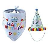 Juego de sombrero de fiesta para perros, mascotas, triángulo, bufanda, toalla ajustable, set de decoración