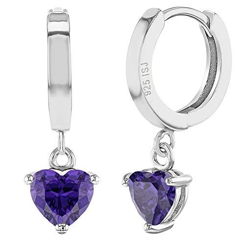 Kleine Kreolen-Herz-Ohrringe, 925er Sterlingsilber, lila Zirkonia, für Mädchen und Teenager