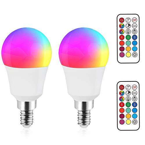 Bonlux E14 LED RGB+KaltWeiß 6000K 3W Dimmbar Farben Lampen P45 Glühbrine AC 85-265V 270lm Abstrahlwinkel 120° Mit Fernbedienung Ersetzt 25W Für Party Farbige Birne Leuchtmittel (2 Stück)