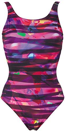 arena Women's Bodylift U Back Shirley C-Cup Tummy Flattening Swimsuit, Grape/Violet, 40