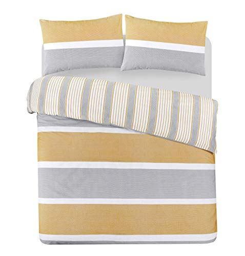 Jennifer Davidson Luxurious Ultra Soft Light Weight Natural Stripe Bedding Set Poly Cotton Duvet Quilt Reversible Cover and Pillow Cases (Natural Mustard Grey, Double)
