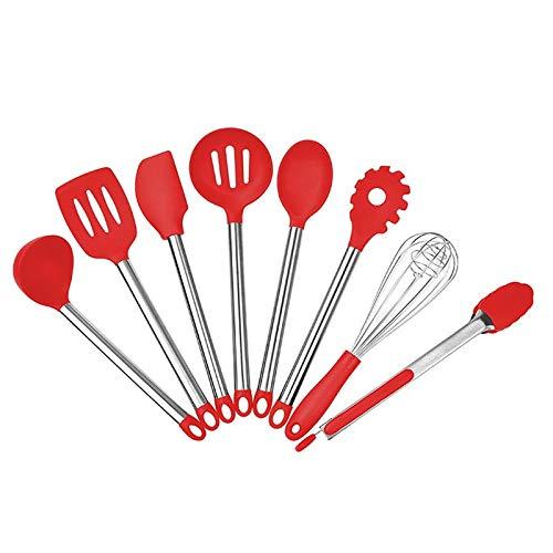 Juego de utensilios de cocina, 8 piezas de silicona antiadherente para cocinar y mango de acero inoxidable, espátula, cuchara, pinzas para alimentos para sartenes antiadherentes (negro, rojo)
