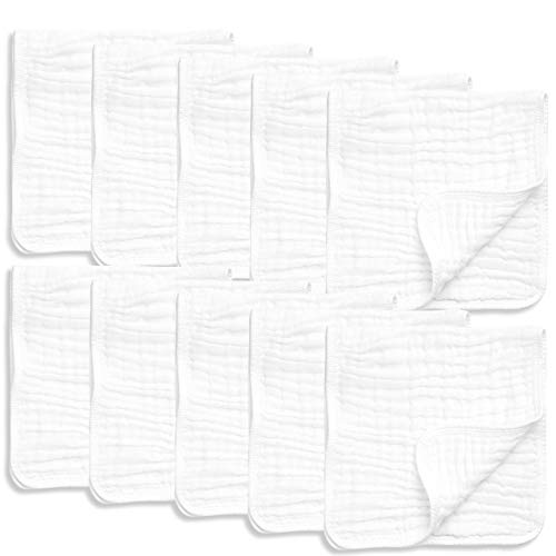 "10 Pack Muslin Burp Cloths Large 20"" by 10"" 100% Cotton, Hand Wash Cloth 6 Layers Extra Absorbent and Soft"
