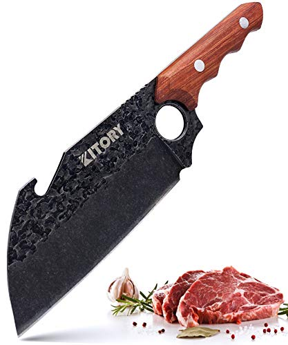 Kitory Boning Cleaver 7quot Forged Butcher Knife Sharp Meat Vegetable Chopper Multifunction Grilling Knife for Kitchen Camping and BBQ Bottle Opener Large Finger Hole with Ergonomic Handle Gift Box