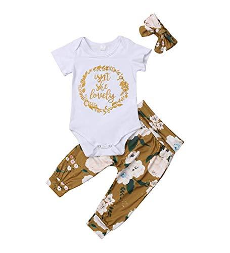 Ropa Bebe Niña Recién Nacido Niña Peleles Monos de Manga Corta + Floral Pantalones + Venda de Pelo,0-18 Meses Bebé Ropa (6-9 Meses, Blanco)
