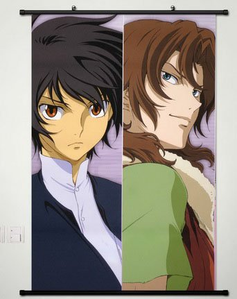 Wall Scroll Poster Fabric Painting For Anime Mobile Suit Gundam 00 Setsuna F Seiei & LOCKON STRATOS 004 L