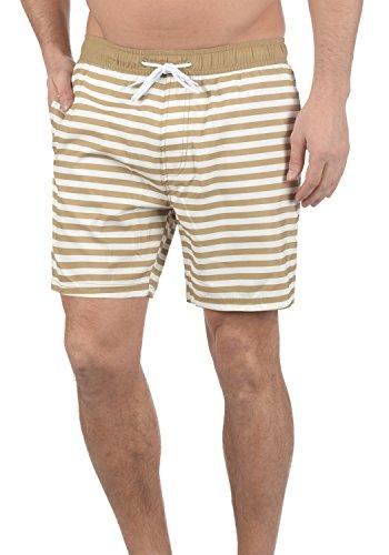 Blend Leo Herren Badehose Badeshorts Schwimmshorts Mit Kordel Und Streifenmuster, Größe:L, Farbe:Sand Brown (75107)