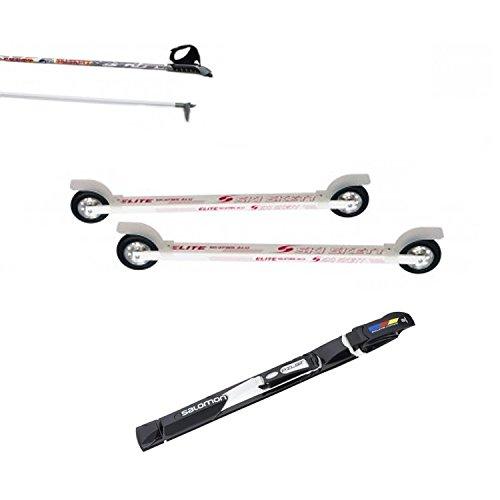 Ski Skett Série Ski Roue, Ski Roue Elite Skate ALU PL, Fixations Salomon Pilot SK, bâtons pour Ski Roue Long. 165 cm.