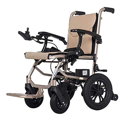 YOLL L&T Silla De Ruedas Inteligente Silla De Ruedas Eléctrica Power Chair Plegable Wheelchair Ligera De La Aleación De Aluminio Silla,conduzca con Potencia O Use como Silla De Ruedas Manual a/A ✅