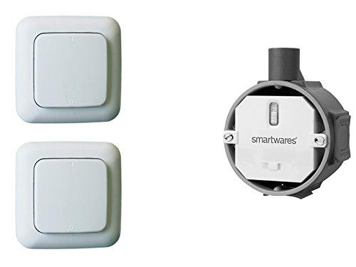 Funk Schalter Set - Funk-Einbauschalter + 2 x Funk-Wandschalter, für Leuchten und Geräte bis max. 1000W