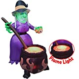 6 FT Halloween Inflatable Witch with Cauldron Inflatable with Projected 3D Fake Fire Light and Build-in LEDs Blow Up Inflatable for Halloween Party Indoor, Outdoor, Yard, Garden, Lawn Decorations