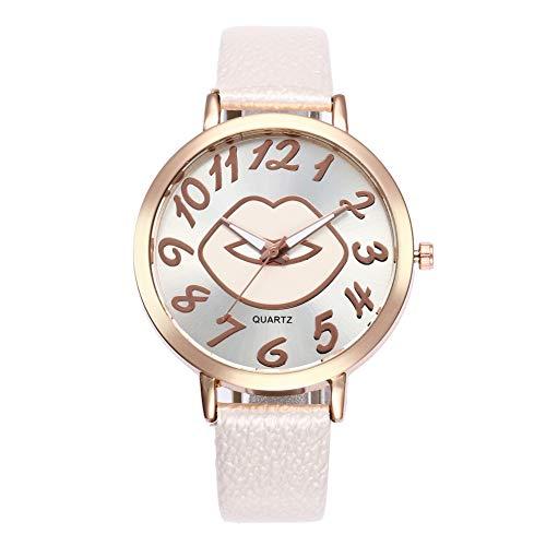 Reloj de pulsera analógico de cuarzo con patrón de labio para mujer, reloj de pulsera con brazalete de cuero serpentino, batería incorporada en color blanco.