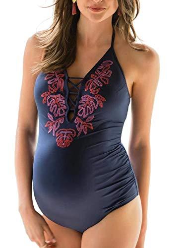 FOBEXISS Conjunto de bikini de moda para mujer color sólido con bordado hueco halter halter traje de baño de una pieza para embarazadas
